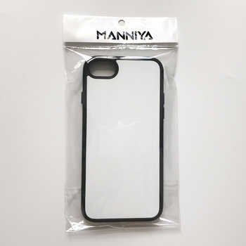 MANNIYA 2D Sublimation Blank rubber TPU+PC Case for iphone 7 8 with Aluminum Inserts and tape Free Shipping! 50pcs/lot