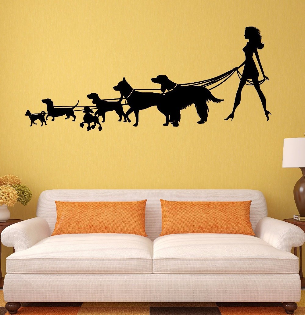 New Arrived Woman Walking Dogs Silohuette Vinyl Wall Murals Home ...