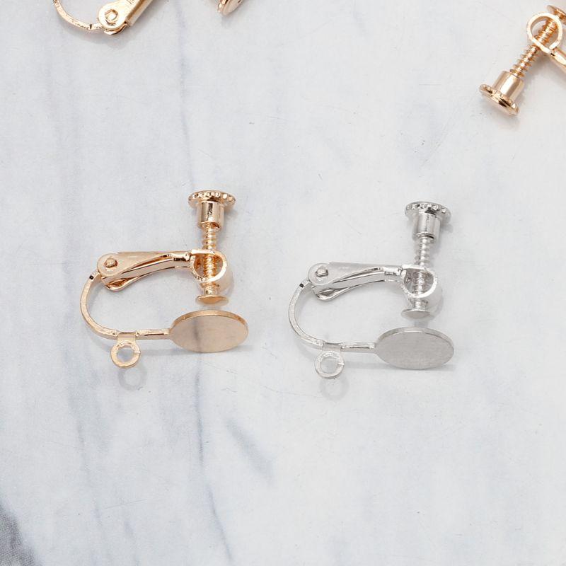 2//10Pcs Ear Wire Screw Clip Back Hinged Drop Earrings Hoop For Jewelry Findings