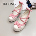LIN KING New Fashion Women Pumps Cute Sweet Bowite PU Cross Strap Buckle Lolita Shoes Round Toe Thick Square High Heel Shoes