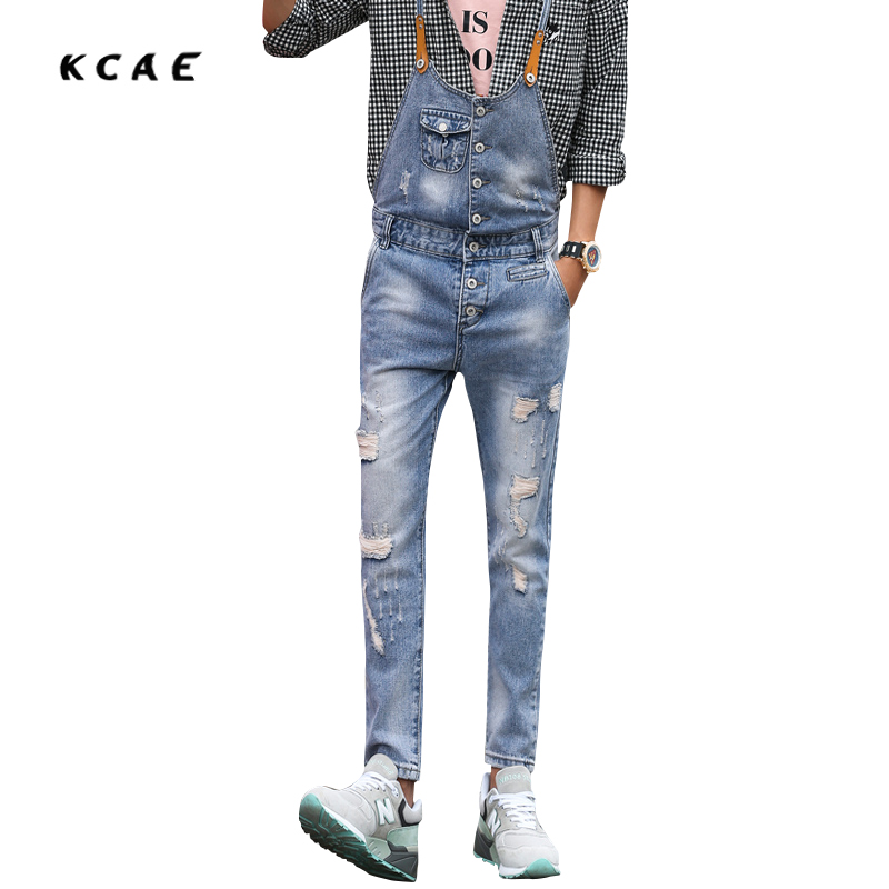 2016 Brand Mens Denim Overalls Fashion Bib Jeans Skinny Overalls For Men Hole Slim Ligh Blue  Suspender Pants 28-33 denim overalls male suspenders front pockets men s ripped jeans casual hole blue bib jeans boyfriend jeans jumpsuit or04