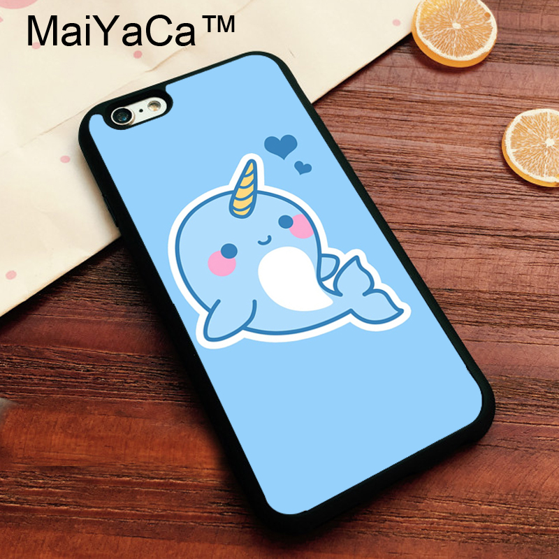 MaiYaCa Cute Kawaii Narwhal Soft TPU Cover for Apple iPhone 8 Coque Case for iPhone8 Luxury Painting Back Shell
