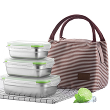 3PCs 304 Stainless Steel Leak-proof Lunch Box With Bag Microwave Induction Cooker Boxes Sealed Fresh-keeping Food Container