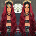 Cheap Ombre Red Wine Front Lace Wig Synthetic Ladies Wigs Glueless Heat Resistant Fiber With Natural Hairline For Black Women