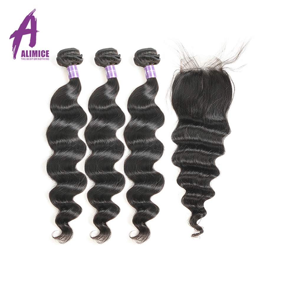 Alimice Peruvian Loose Wave Hair 3 Bundles With Closure Human Hair Weaves Bundles With Closure Non Remy Hair Extensions 4Pcs/Lot