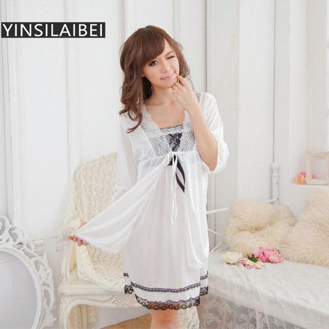 df4e0f0ba1f4 Lace Satin Nightgown Comfortable Ice Silk Womens Nightgown Sexy Babydoll Nightwear  Women Sleepwear Sexy Lingerie Dress