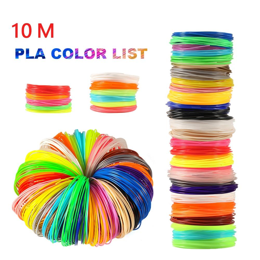10 Meter PLA 1.75mm 3D Printer Filament Printing Materials Extruder Accessories Parts Transparent White Wood Plastic for 3d Pen
