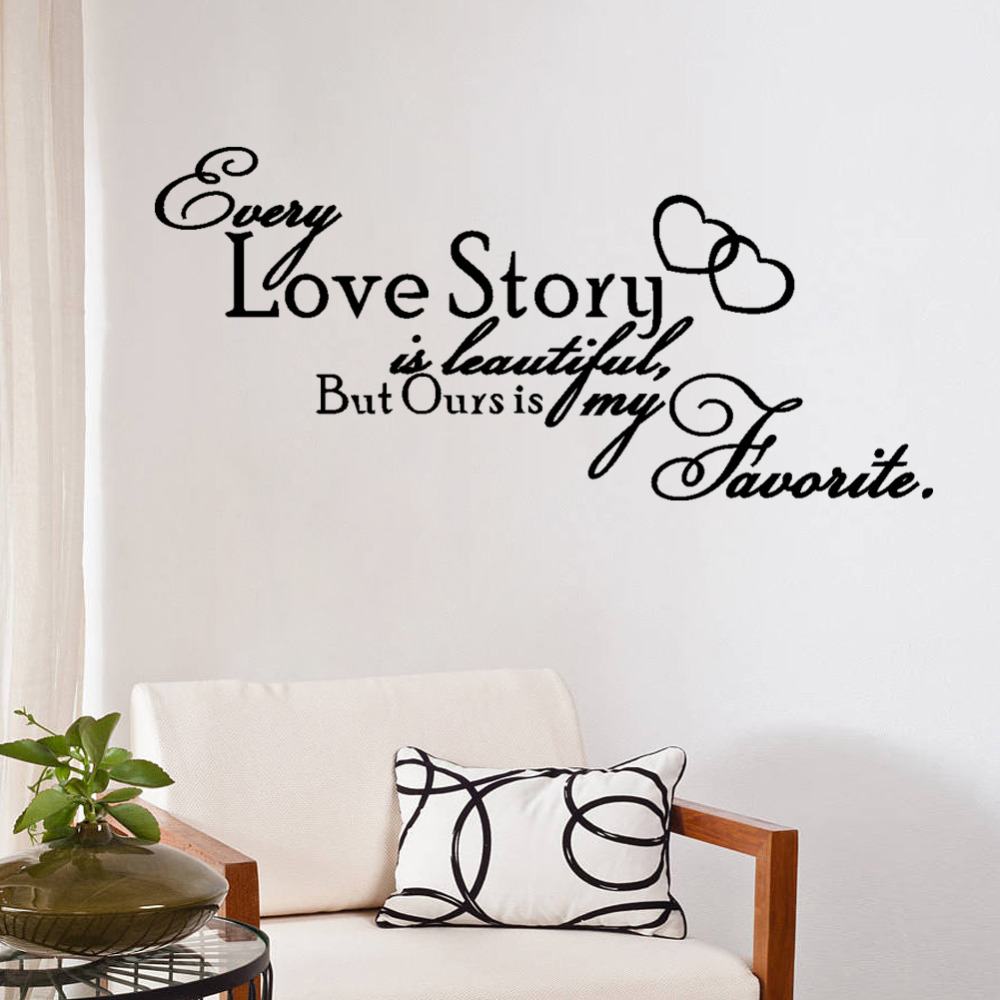 Love story is beautiful home quote 8392 wall decals bedroom love story is beautiful home quote 8392 wall decals bedroom removable vinyl wall stickers art words sayings vinyl wall decals in hair clips pins from amipublicfo Image collections