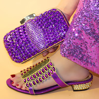 2019 Purple Matching Italian Shoe and Bag Set Italian Shoe with Matching Bag Nigerian Luxury Crystal Female slippers and Bag Set