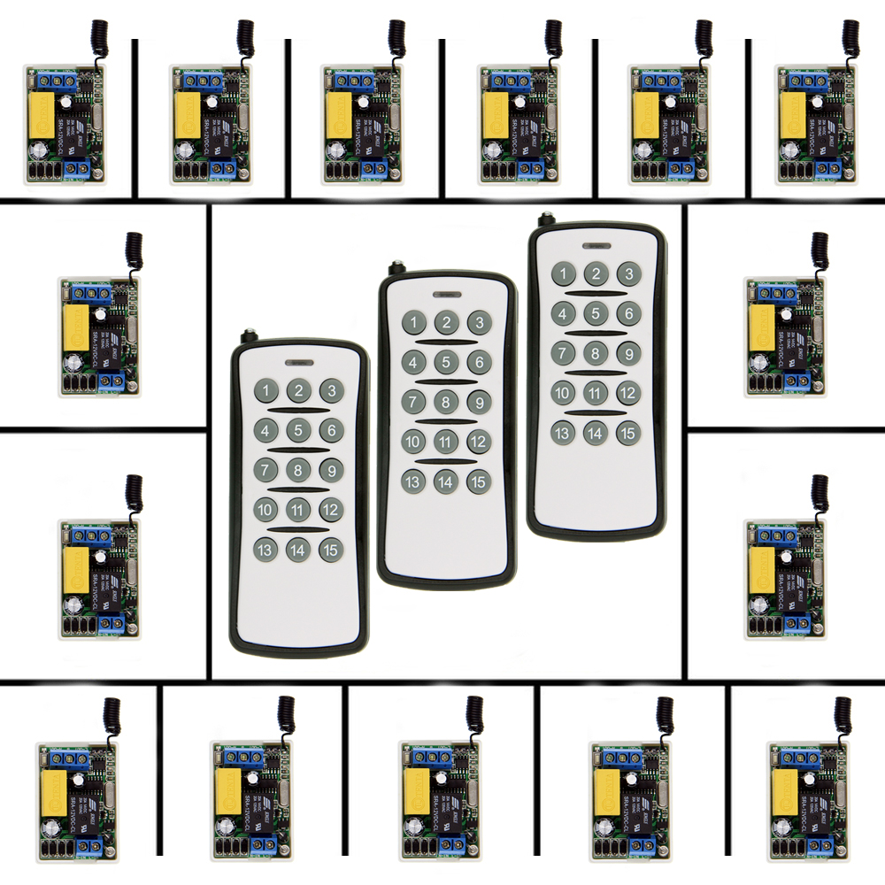 Mini Size 220V 1CH 1CH 10A Wireless Remote Control Switch Relay Receiver + 15CH Transmitter System ,315 / 433 MHz Toggle