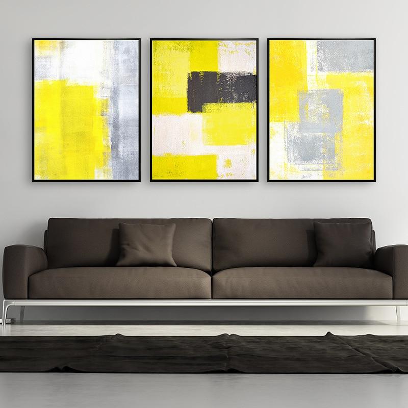 Ձեռքով նկարված պատի արվեստի դեղին - Տնային դեկոր - Լուսանկար 1