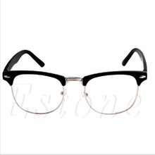 1PC Fashion Metal Half Frame Glasses Retro Woman Men Reading Glass UV Protection Clear Lens Computer Drop ship