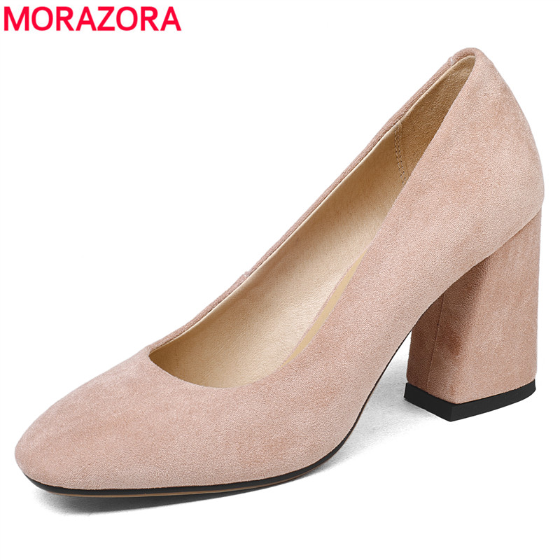 MORAZORA 2018 Fashion shoes women basic office lady dress shoes pointed toe faux suede spring summer high heels pumps shoes black basic slip on pumps sexy women pointed toe faux suede high heels 8cm d orsay for office dress size 4 16 us fsj