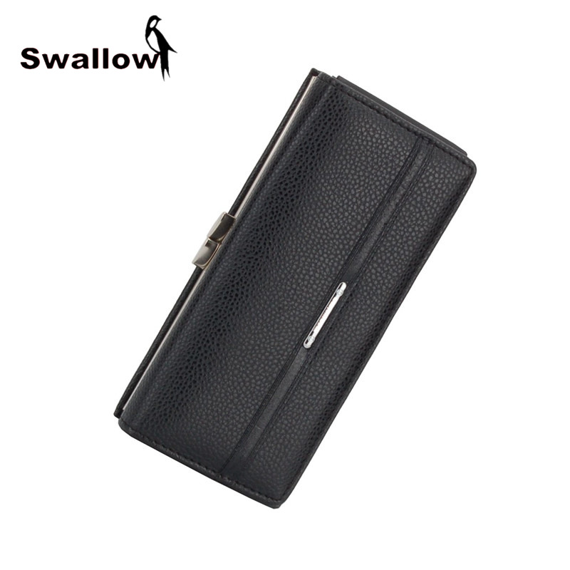SWALLOW Hasp Leather Women Wallets And Purse Luxury Brand Women Coin Purses Long Leather Wallet Lady Clutch Carteira Feminina baellerry famous luxury brand baelerry leather womens wallet long hasp trifold purse women clutch carteira handbag billfold