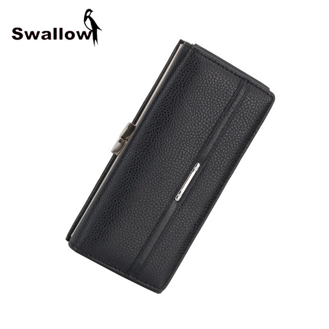 SWALLOW Hasp Leather Women Wallets And Purse Luxury Brand Women Coin Purses Long Leather Wallet Lady Clutch Carteira Feminina