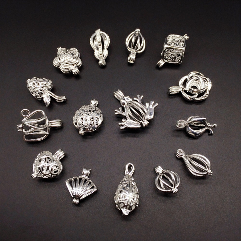 15pcs Silver Tone Mixed Design Pearl Beads Cage Locket