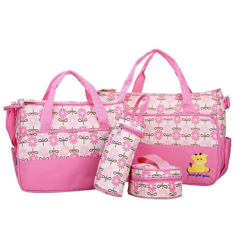 MOTOHOOD 39*28.5*17CM 5pcs Baby Diaper Bag Suits For Mom Baby Bottle Holder Mother Mummy Stroller Maternity Nappy Bags Sets