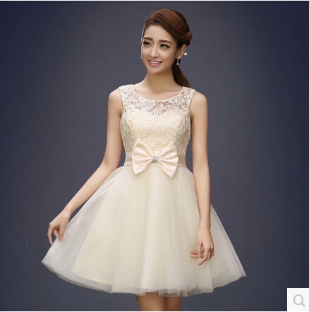 Short Prom Dress Evening special occasion dresses Design Bow Lace Dresses Champagne Pink Purple - KC International Fashion Store store