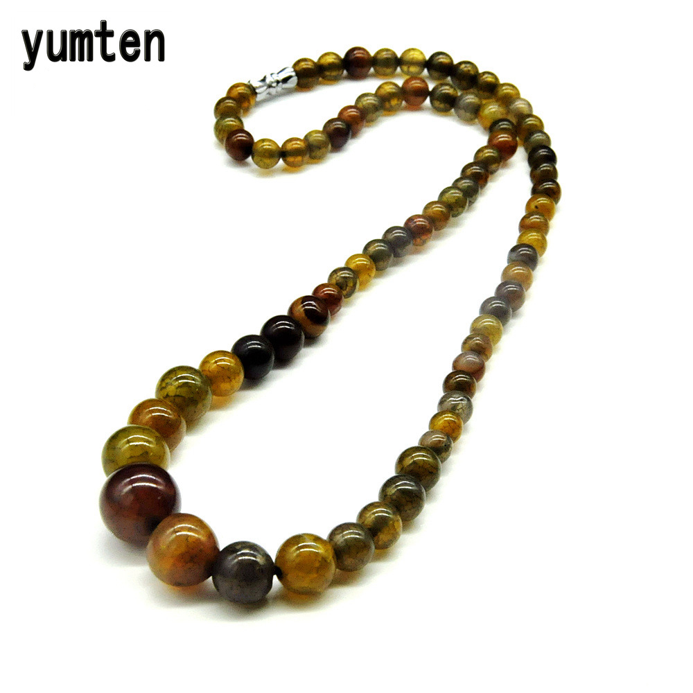 Yumten Amber Green Nature 6mm-14mm Round Agate Pärlor Crystal Stones Women Necklace Bästa Friend Gifts New Fashion Drop Shipping