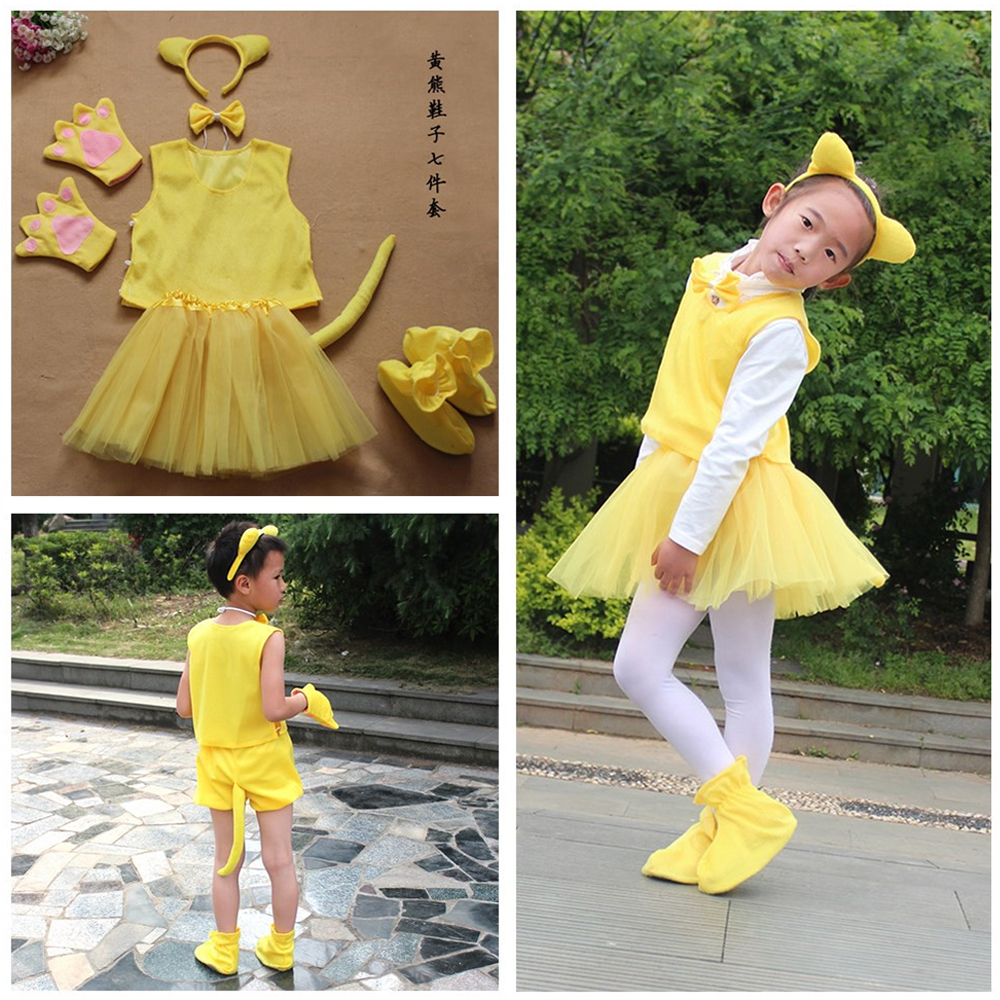 Halloween Animal Party Cosplay Costume Brown Yellow Bear Costume Set Headband Clothes Shoes Tail Tutu Skirt Gloves Kid