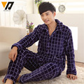 Adult Sleepwear Onesie Men Plain Flannel Set Soft Thicken Lounge Set Pijamas Hombre Nightwear Plus Size