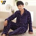 Ropa de dormir adultos Onesie hombres llanura conjunto de franela suave espesar conjunto de salón Pijamas Hombre dormir más el tamaño