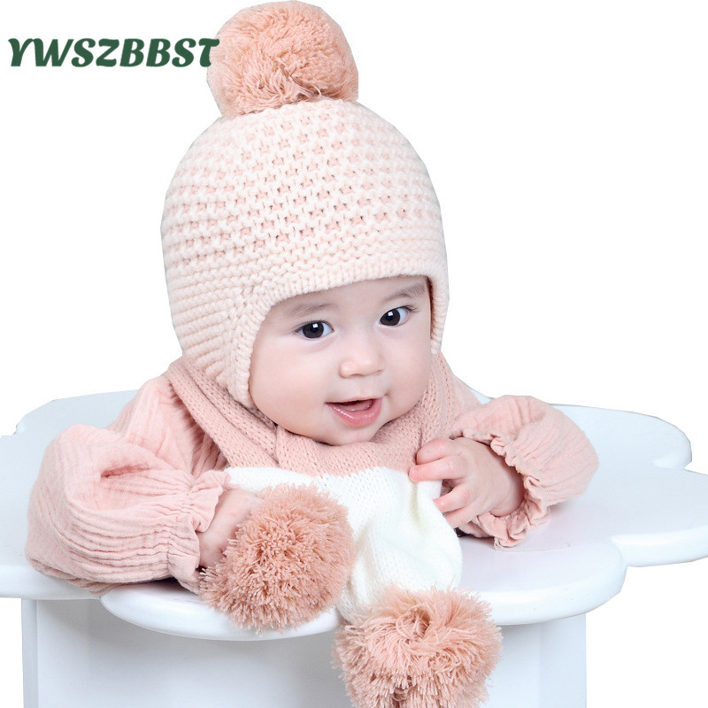 Children Winter Hat For Girls Hat Knitted Beanies Cap Pom Pom Thick Baby Cap Baby Girl Winter Warm Hat Infant Toddler Caps Set 2017 letter 2018 beauty hat for women knitted cap autumn winter warm skullies beanies empty hat scarf two use 3 colors 8404