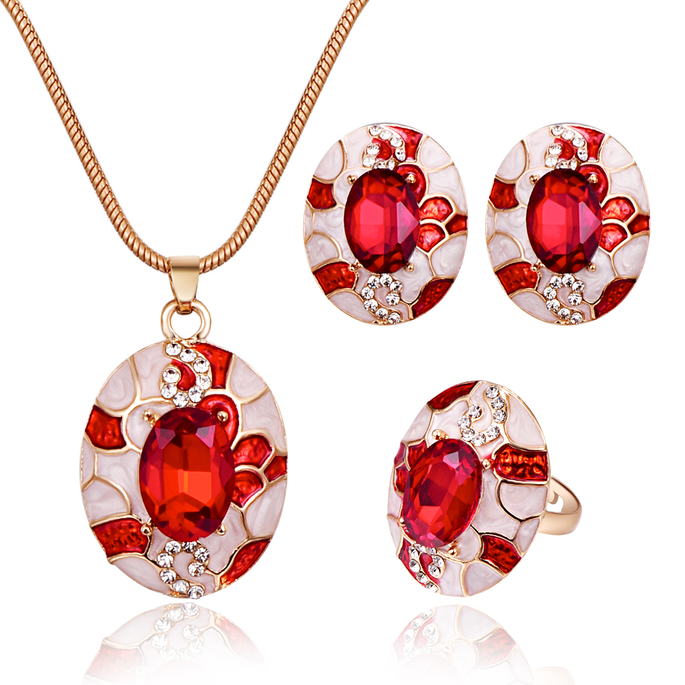 Fashion Colorful Crystal Creative Pattern Jewelry Sets Temperament Women Party Decoration Pendant Necklace Earrings Ring 3Pcs