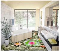 Custom photo wallpaper 3d flooring self adhesion Wall Sticker Fish lotus stone 3D bathroom floor wallpaper for living room decor