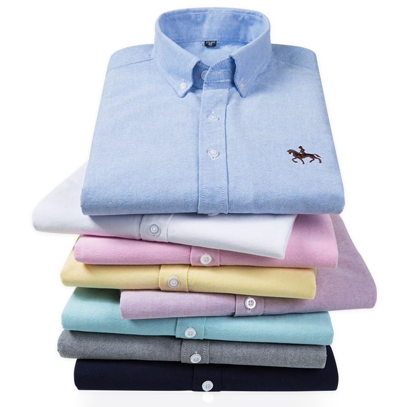 S-6XL Plus size New  OXFORD FABRIC 100% COTTON excellent comfortable slim fit button collar business men casual shirts tops 4