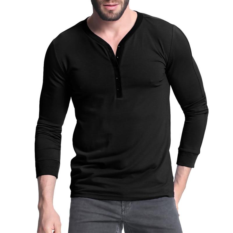 INCERUN Henley Koszula 2017 Jesień Zwykły T-shirt Z Długim Rękawem V Neck Przycisk Plisy na co dzień Slim tshirt Dla Mężczyzn T-shirt Męski Tee Góry