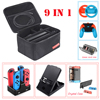 9 in 1 Kit Big Protective Case Storage Bag for Nintend Switch Console Charger & Handgrips& Steering Wheels& Crystal Shell& Stand