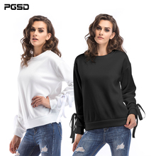 PGSD Spring Autumn Simple fashion Pure color Women Clothes Regular Long sleeves Velvet bandage Big size O-Neck Pullovers female stylish turtle neck long sleeves pure color women s jumper
