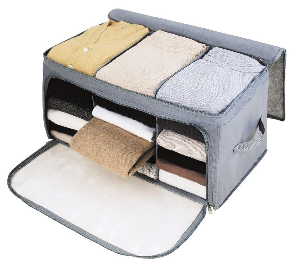 Novo Anti-mofo Dobrável Saco De Armazenamento Organizadores Grande Janela Transparente Carry Alças Grande para Roupas organizador Cobertores saco Zippe