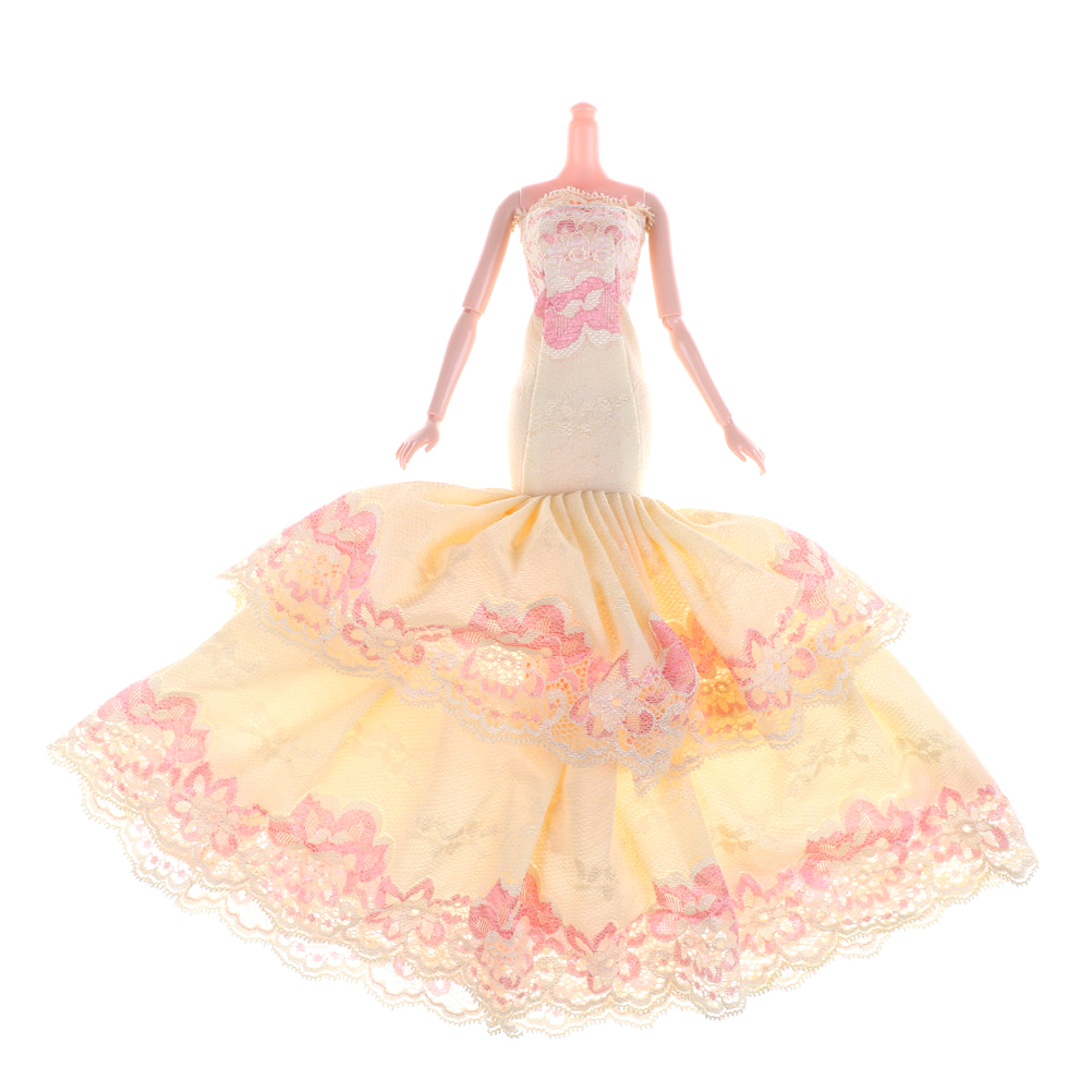 be8775959578f bride dress Full Around quality yellow fishtail wedding evening dress for  barbie doll Princess Evening Party Clothes 1PCS-in Dolls Accessories from  ...
