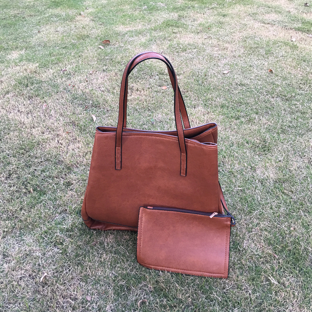 Wholesale Blanks Pu Vegan Leather Tote Bag Brown Composite Bag With