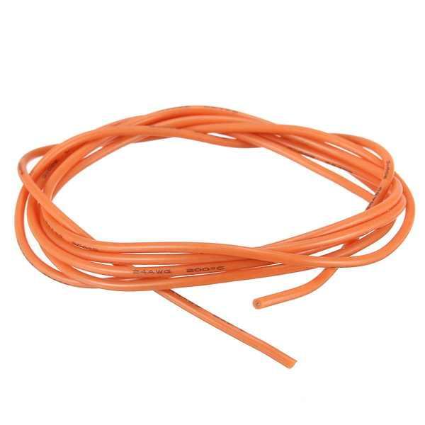 24AWG 柔軟なシリコーンワイヤーケーブル、ソフト高温錫メッキ銅オレンジ 1/3/5/10 メートル