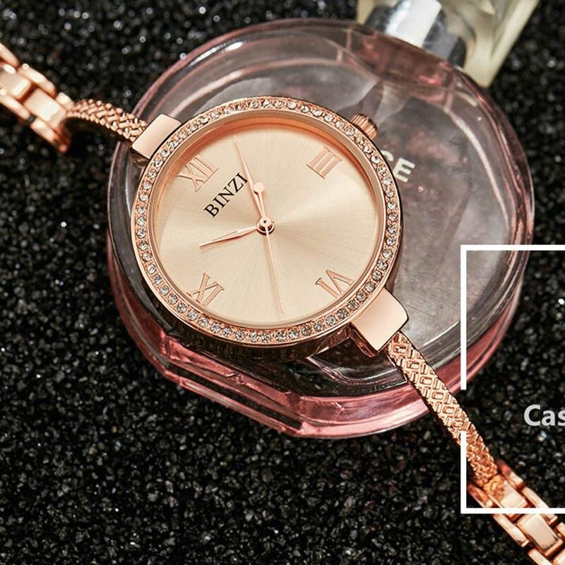 Кварцевые женские часы Мода Роскошь розовое золото Нержавеющаясталь Для женщин часы браслет Водонепроницаемый бренд Для женщин часы montre
