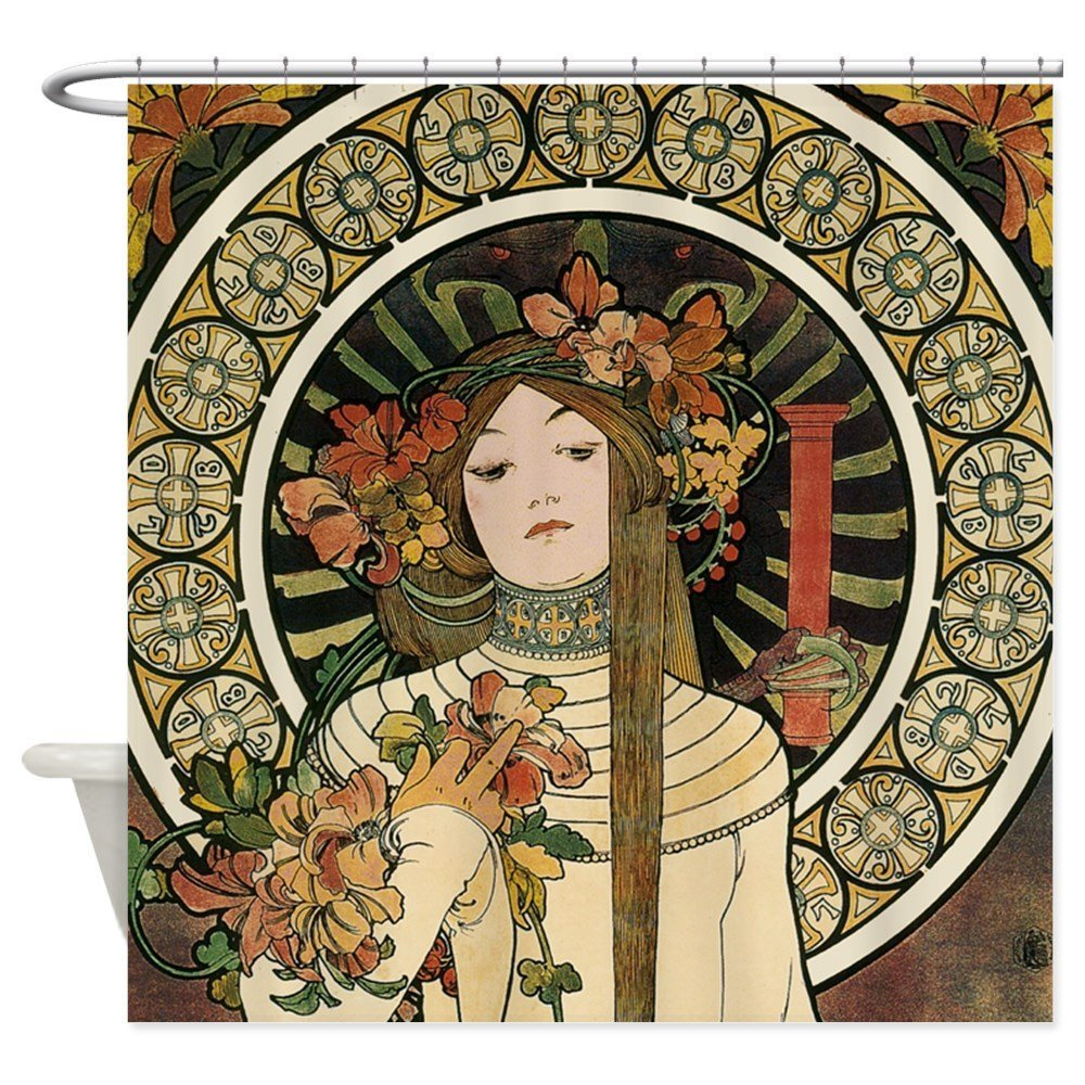 Vintage Art Nouveau Alfonse Mucha a Trappistine Po Decorative Fabric Shower Curtain Set and Floor Mat Non slip Doormat Rug|shower curtain set|fabric shower curtain|fabric shower - title=