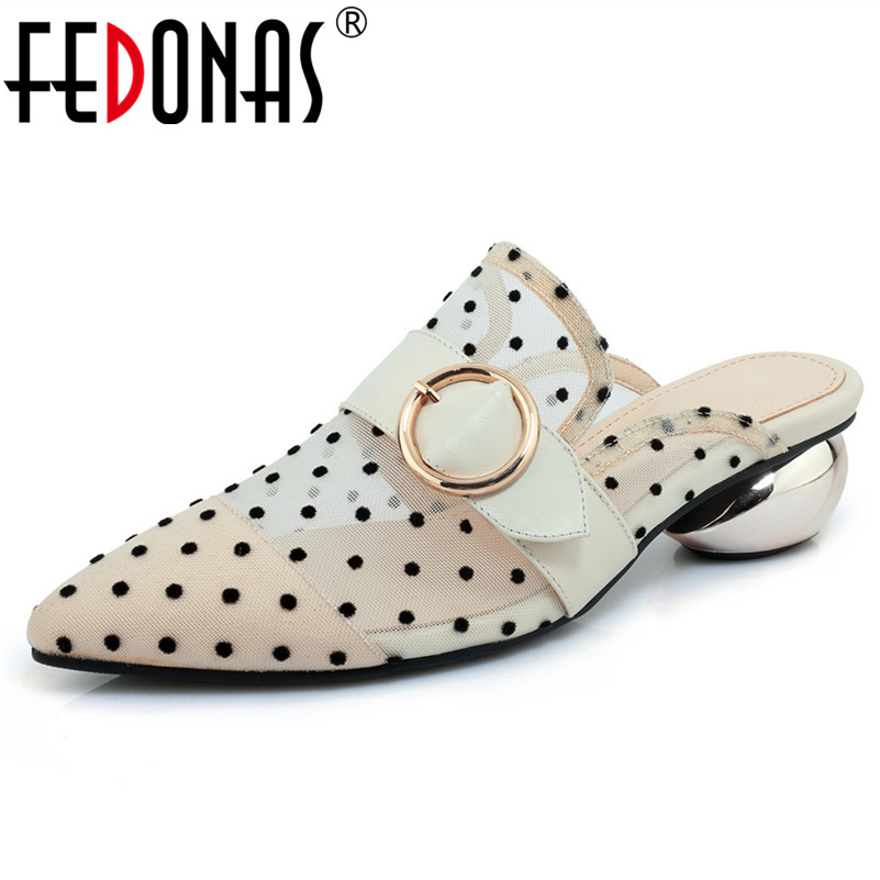 FEDONAS Elegant Women Mesh High Quality Buckles Low Heels Comfort Slippers Ladies Summer Wedding Shoes Black White Mules Shoes