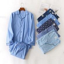 Homem outono inverno calças de manga comprida conjunto de pijama listrado algodão turn down colarinho masculino pijamas roupa de dormir