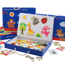лучшая цена New Kids Toys Wooden Toys Cartoon Animal Magnetic Jigsaw Puzzle Drawing Toys Board Early Educational Toys For Children Girl Gift