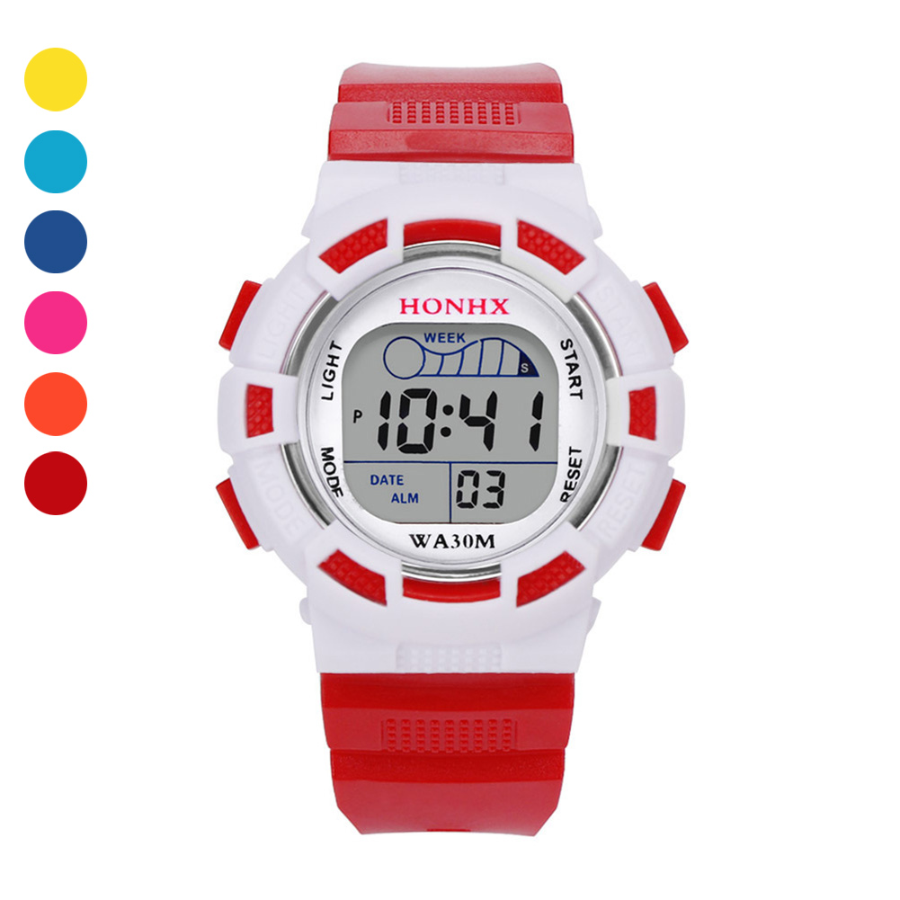 Children's Watches Kids Sport Electronic Watch Digital Display Dial with PU Strap Wrist Watch for Boys Girls Gifts LL@17