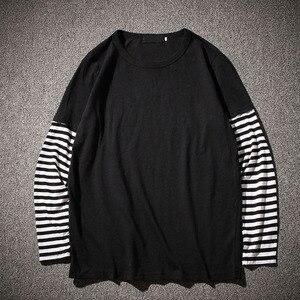 Image 3 - Hip Hop Long Sleeve T shirts Men O neck Striped Patchwork T Shirt Men Fashion Casual Comfortable T Shirts Men Spring Autumn
