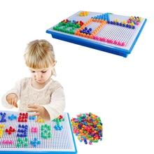 цена на 296Pcs Mushroom Nail Kit Puzzle DIY Kids Infant Toys 3D Mosaic Picture Puzzle Toy Children Creative Intellectual Educational Toy