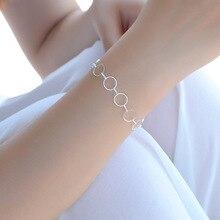 TJP Simple Fashion Silver 925 Women Bracelet Jewelry Charm Round Girl Silver Anklets Jewelry For Lady Bride Princess Party Bijou