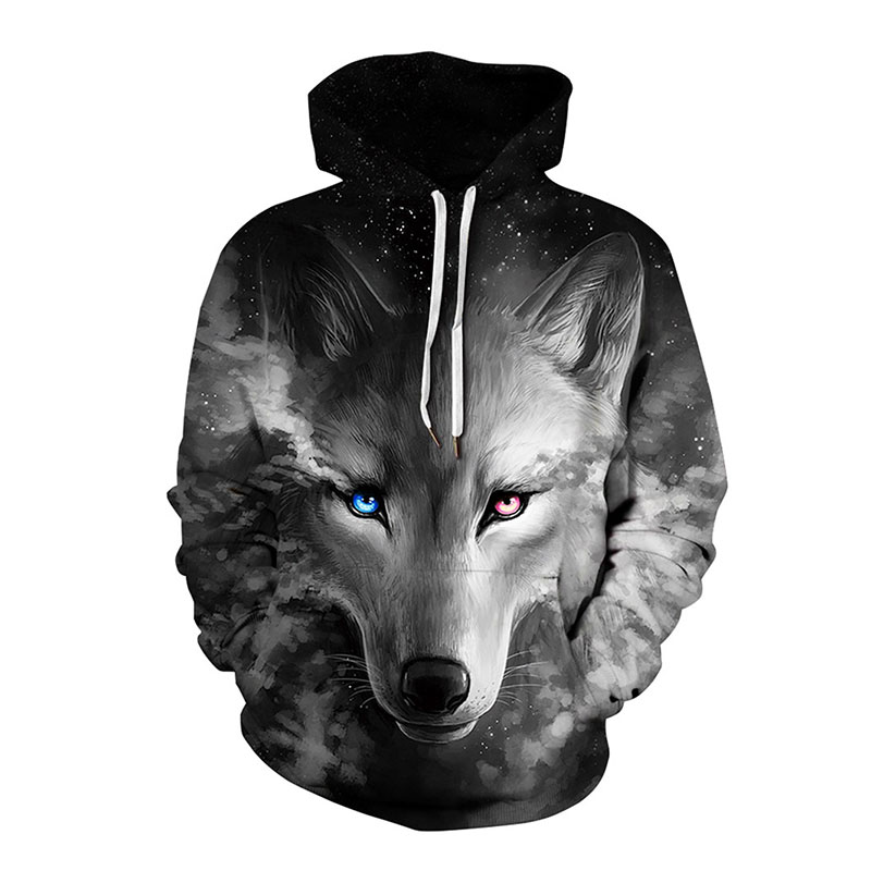 Grey Galaxy Wolf Hoodies Hooded Unisex Hat 3D Sweatshirts Print Colorful