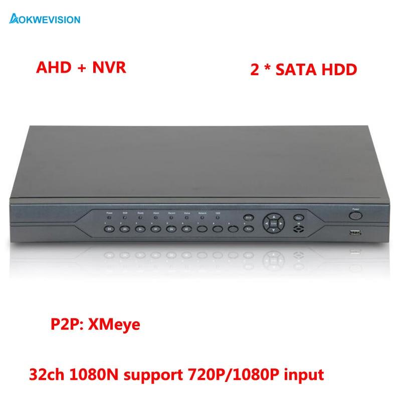 1080 P CCTV Caméra Hi3521A 32CH 32 Canal 2 SATA 1080N Coaxial Hybride Onvif IP NVR AHD DVR