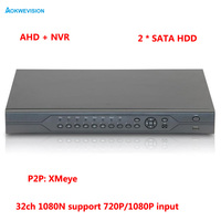 1080P CCTV Camera Hi3521A 32CH 32 Channel 2 SATA 1080N Hybrid Coaxial Onvif IP NVR AHD