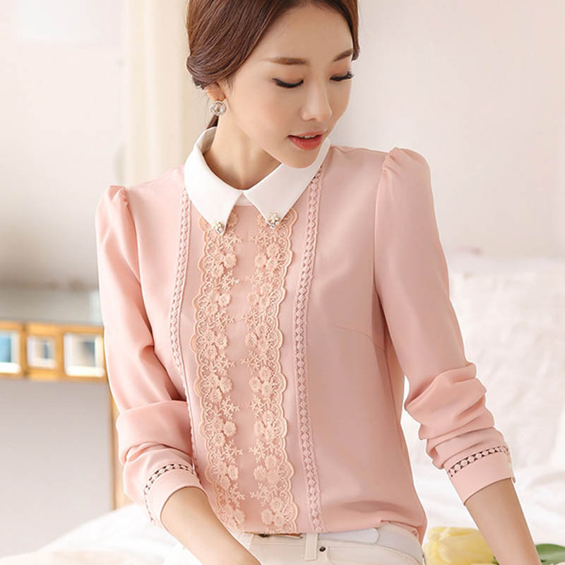 Women Fashion Long Sleeved Peter Pan Collar Slim Lace Chiffon Blouses Shirts in Blouses amp Shirts from Women 39 s Clothing